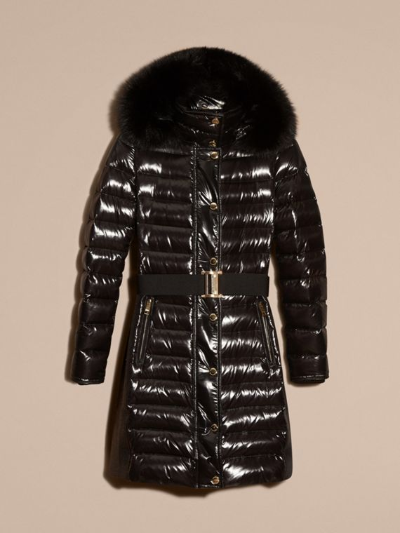 Down-Filled Coat with Detachable Fur-trimmed Hood in Black - cell image 3