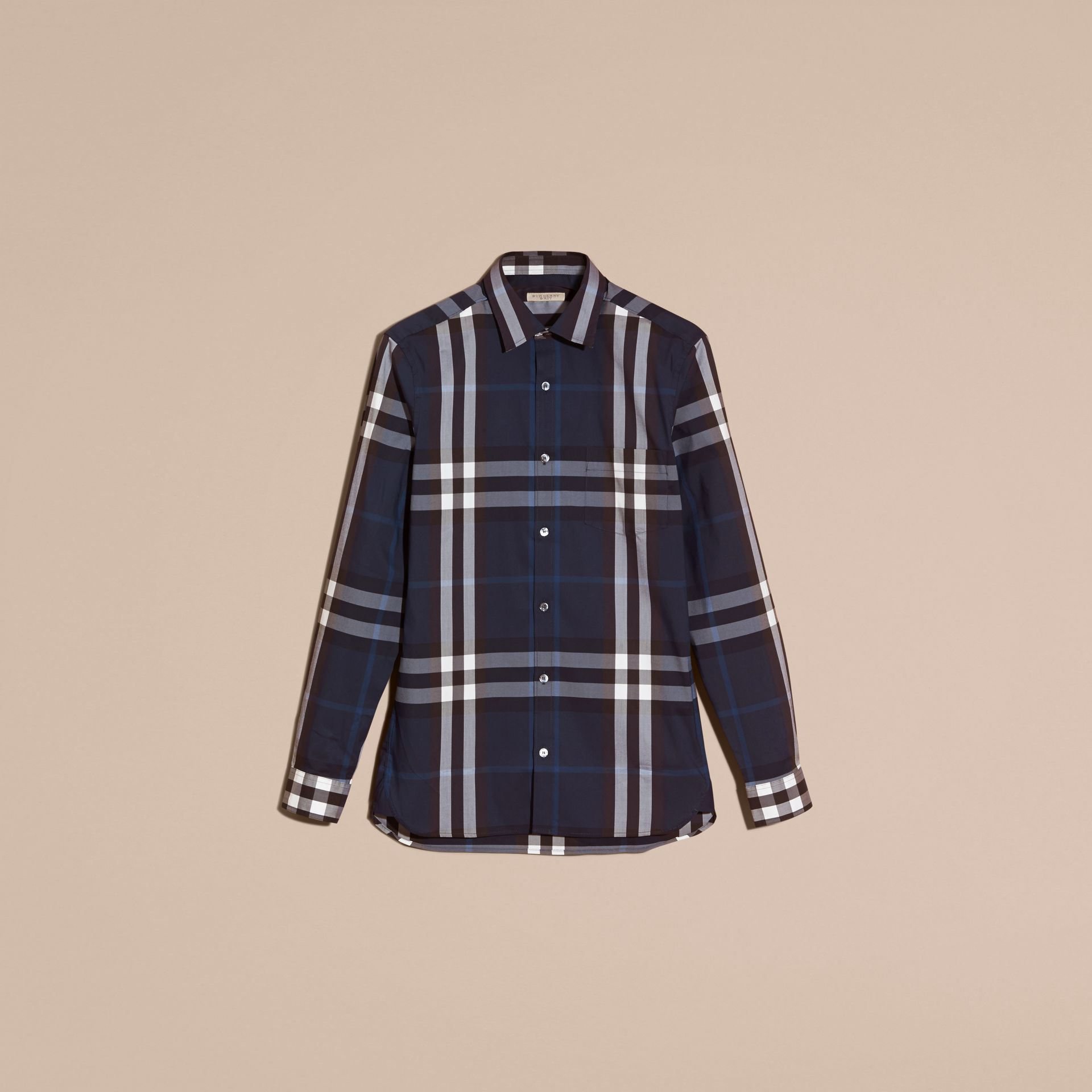 Indigo blue Check Stretch Cotton Shirt Indigo Blue - gallery image 4