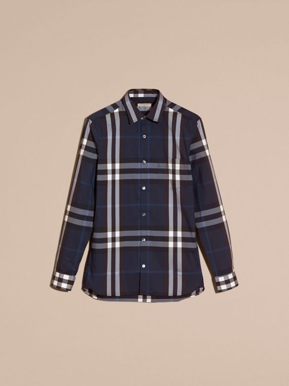 Check Stretch Cotton Shirt in Indigo Blue - cell image 3