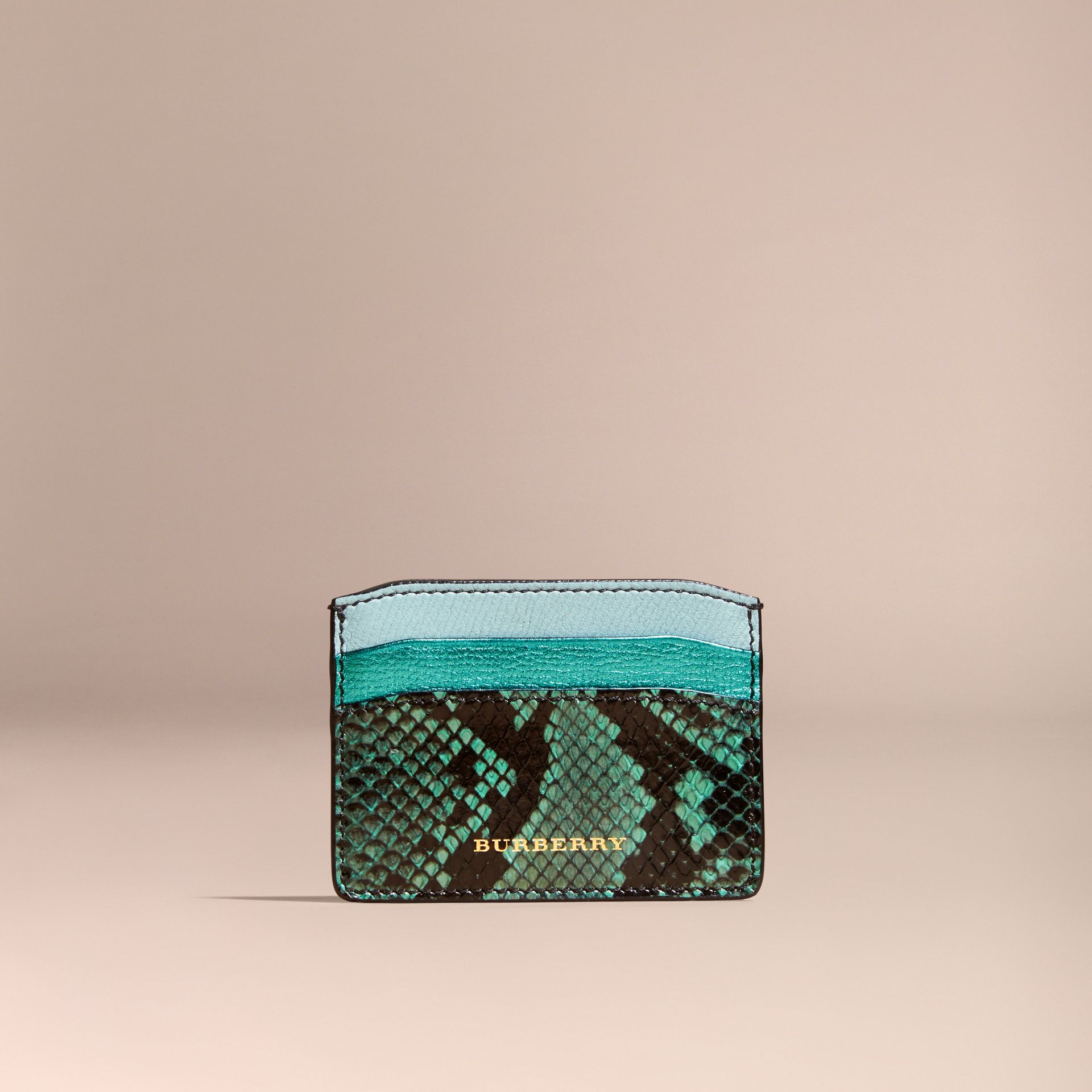 Light mint Colour Block Leather and Snakeskin Card Case Light Mint - gallery image 6