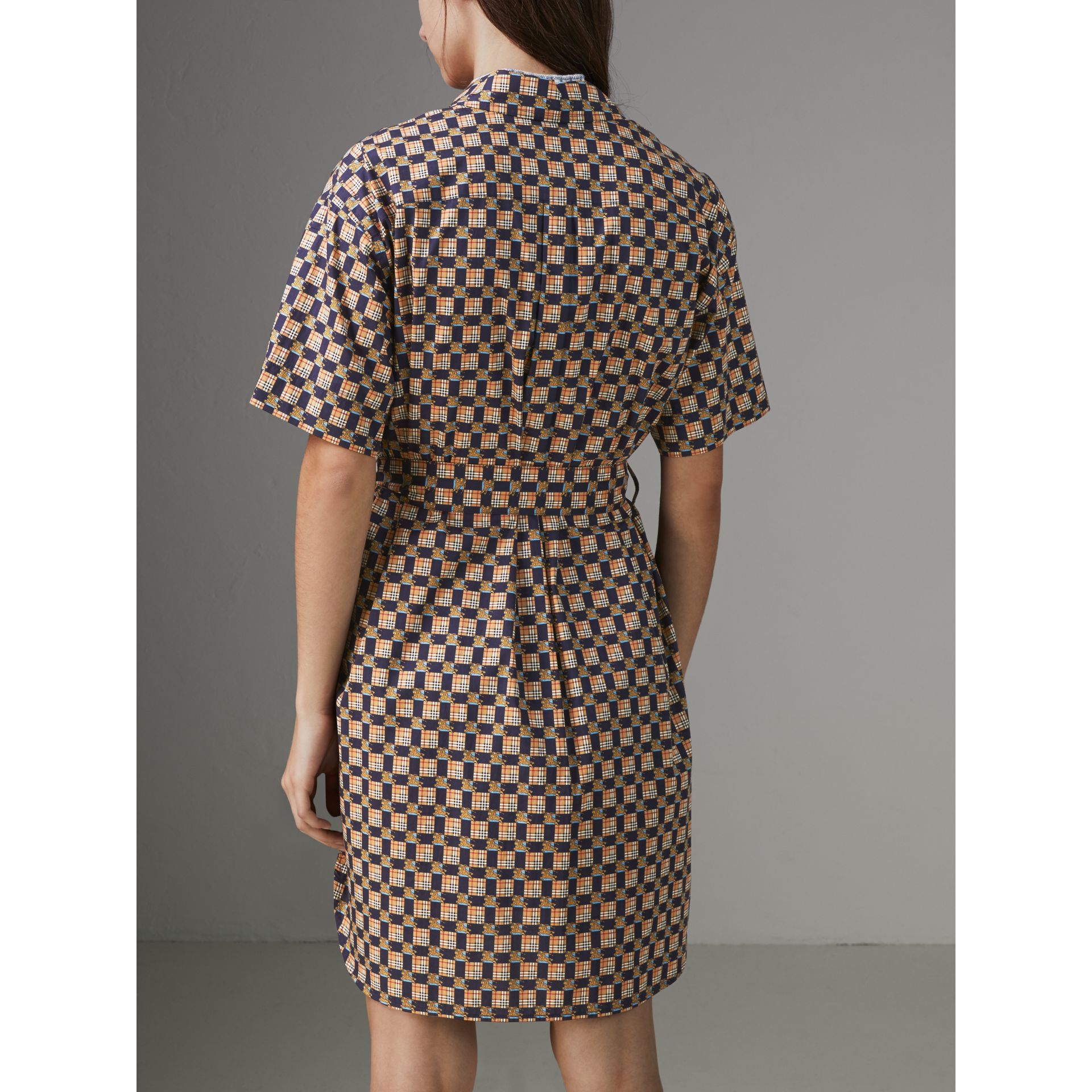 Tiled Archive Print Cotton Shirt Dress in Navy - Women | Burberry Hong Kong - gallery image 2