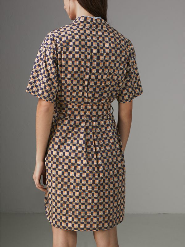 Tiled Archive Print Cotton Shirt Dress in Navy - Women | Burberry - cell image 2