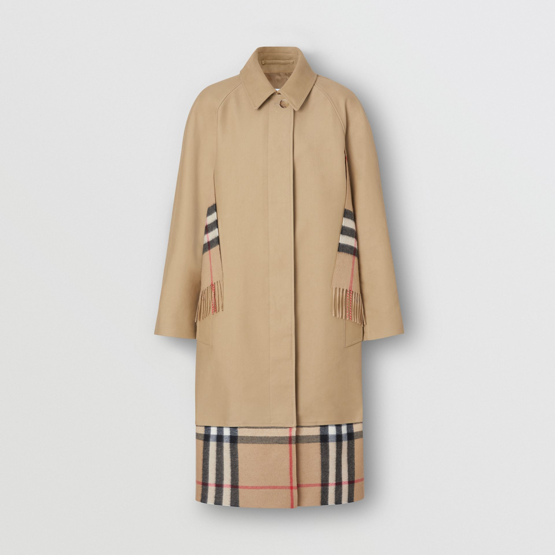 Scarf Detail Cotton Gabardine Car Coat in Honey - Women | Burberry - gallery image 2