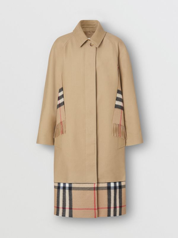 Scarf Detail Cotton Gabardine Car Coat in Honey - Women | Burberry United Kingdom - cell image 3