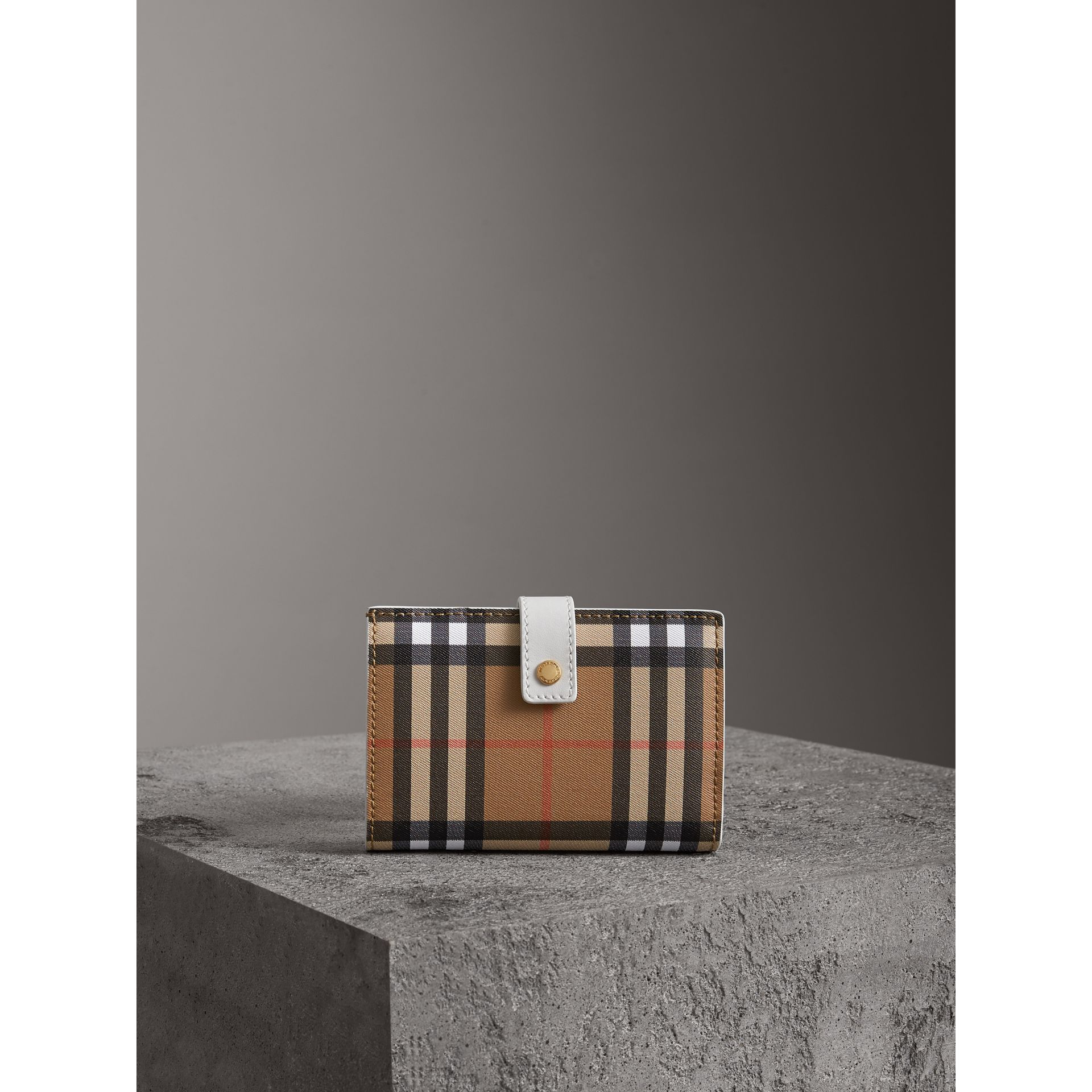 Vintage Check and Leather Folding Wallet in Chalk White - Women | Burberry Singapore - gallery image 4