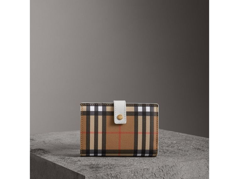 Vintage Check and Leather Folding Wallet in Chalk White - Women | Burberry - cell image 4