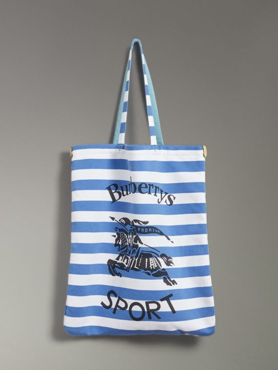 Large Archive Logo Striped Jersey Shopper in Sky Blue/white