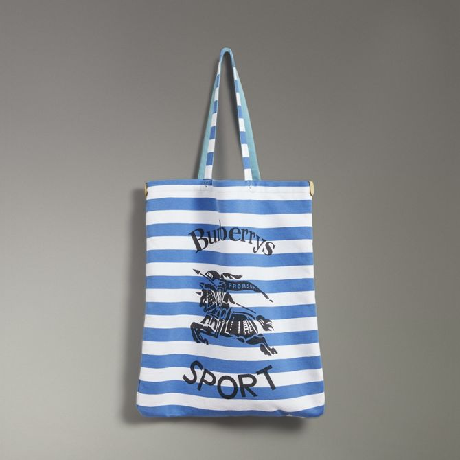 53ee66abb9cf Shop Burberry Large Archive Logo Striped Jersey Shopper In Sky Blue ...