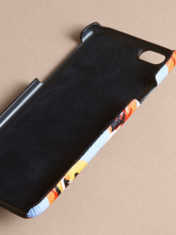 Peony Rose Print Leather iPhone 6 Case in Pale Blue/vibrant Orange | Burberry - cell image 3