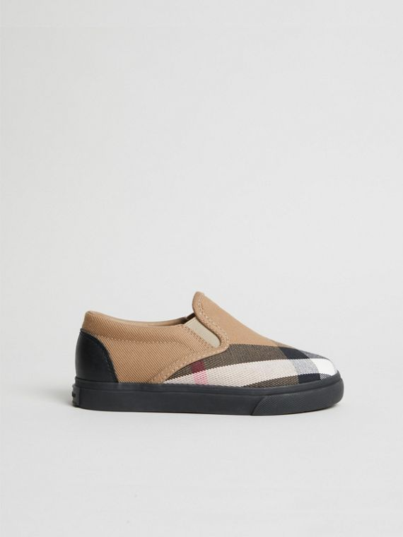 House Check and Leather Slip-on Sneakers in Classic/black | Burberry - cell image 3