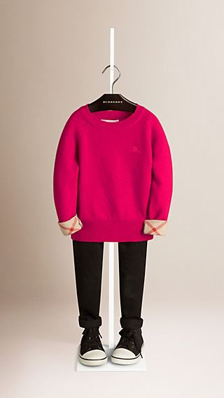 Check Cuff Cashmere Sweater