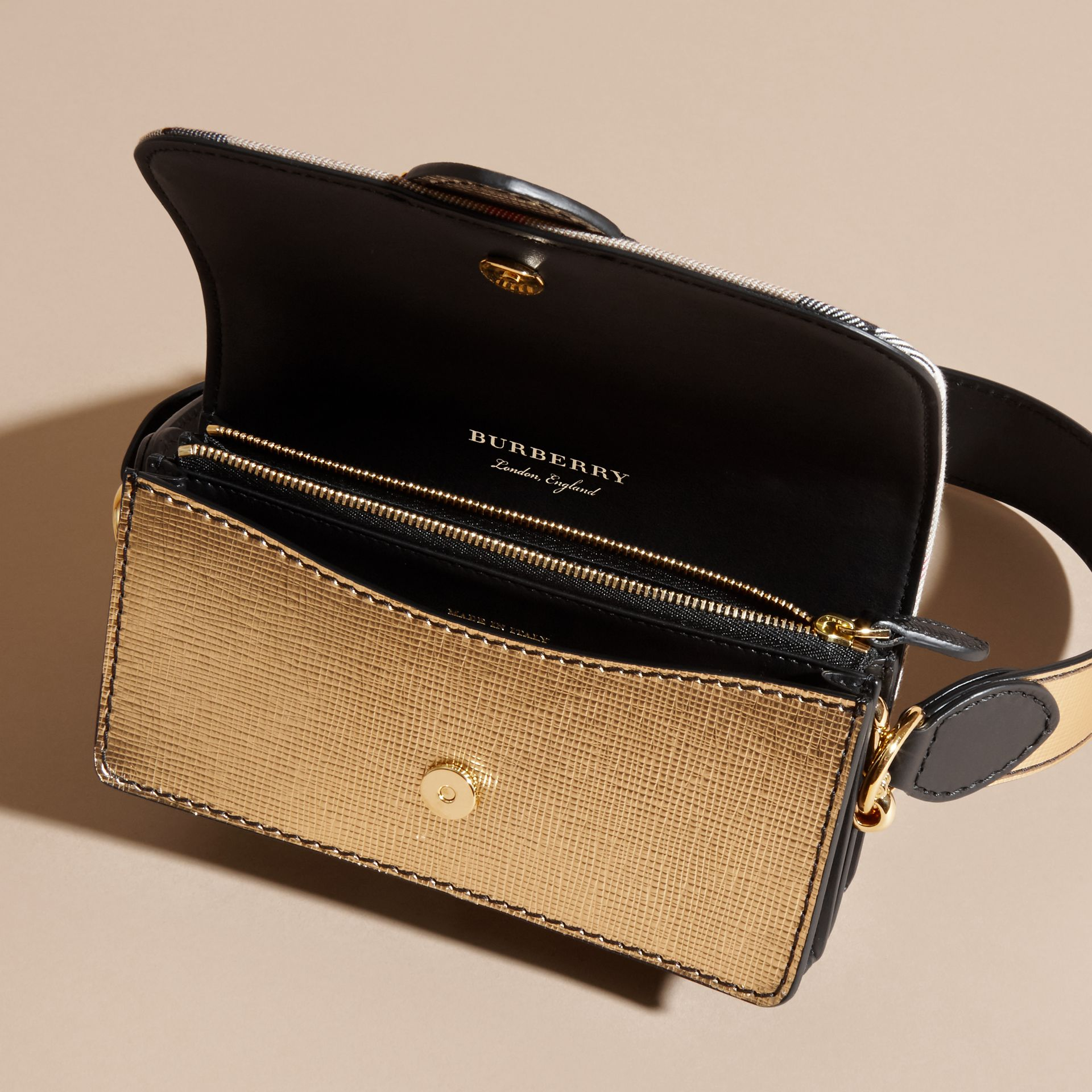 The Small Buckle Bag in House Check and Leather Gold - gallery image 6