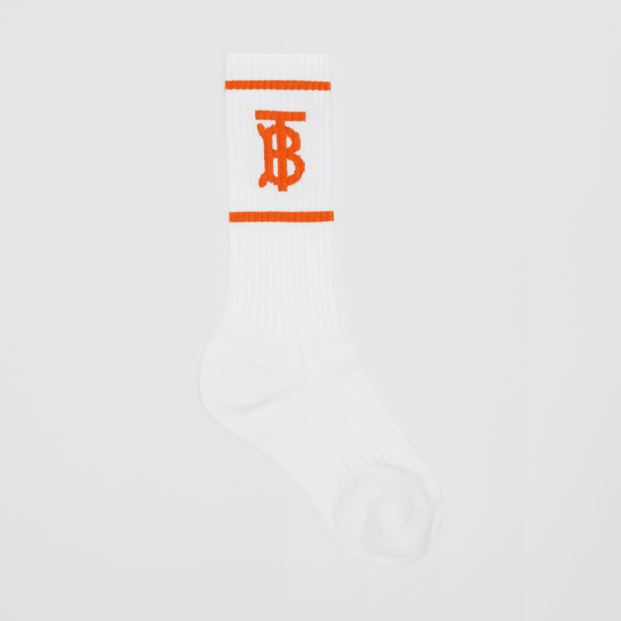 Monogram Motif Intarsia Socks in White/orange | Burberry - 1