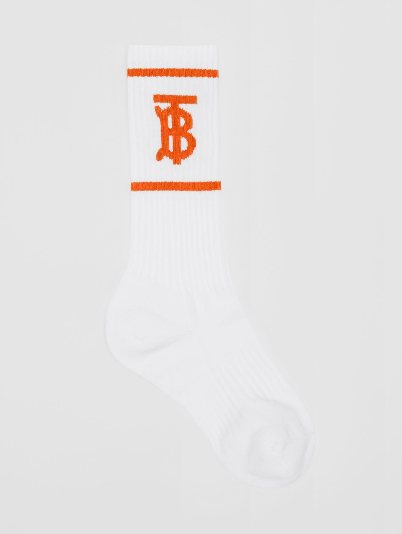 Monogram Motif Intarsia Socks (White/orange)