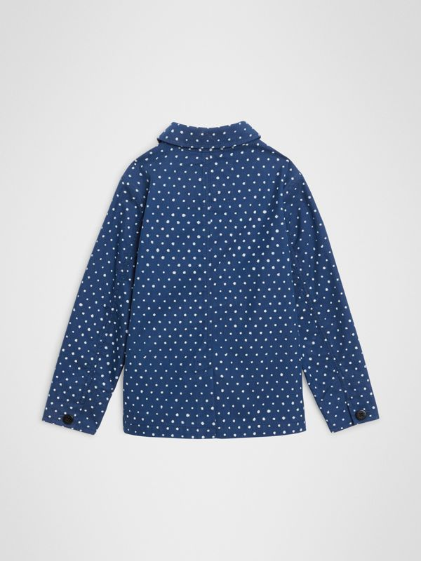 Spot Print Cotton Blend Jacket in Bright Navy | Burberry - cell image 3