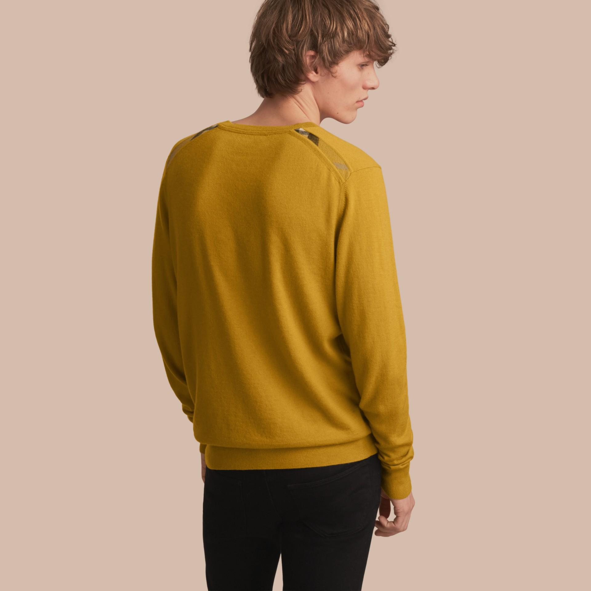Lightweight Crew Neck Cashmere Sweater with Check Trim Cornflower Yellow - gallery image 1