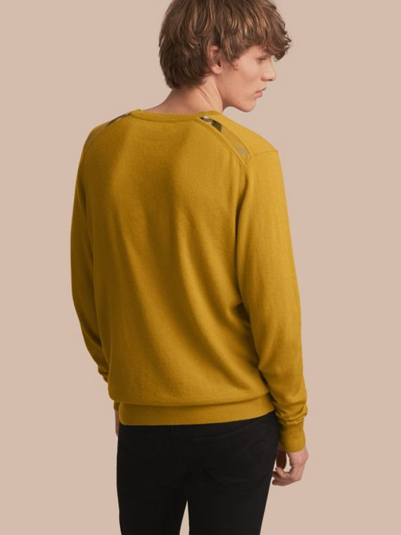 Lightweight Crew Neck Cashmere Sweater with Check Trim in Cornflower Yellow