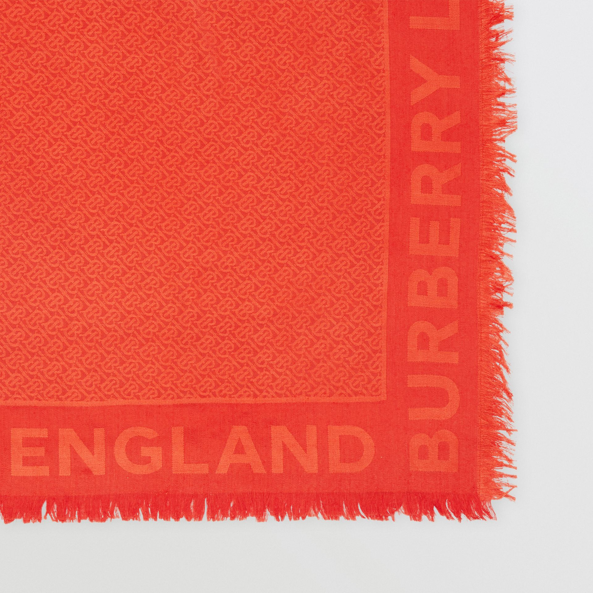 Monogram Silk Wool Jacquard Large Square Scarf in Vermilion | Burberry - gallery image 1