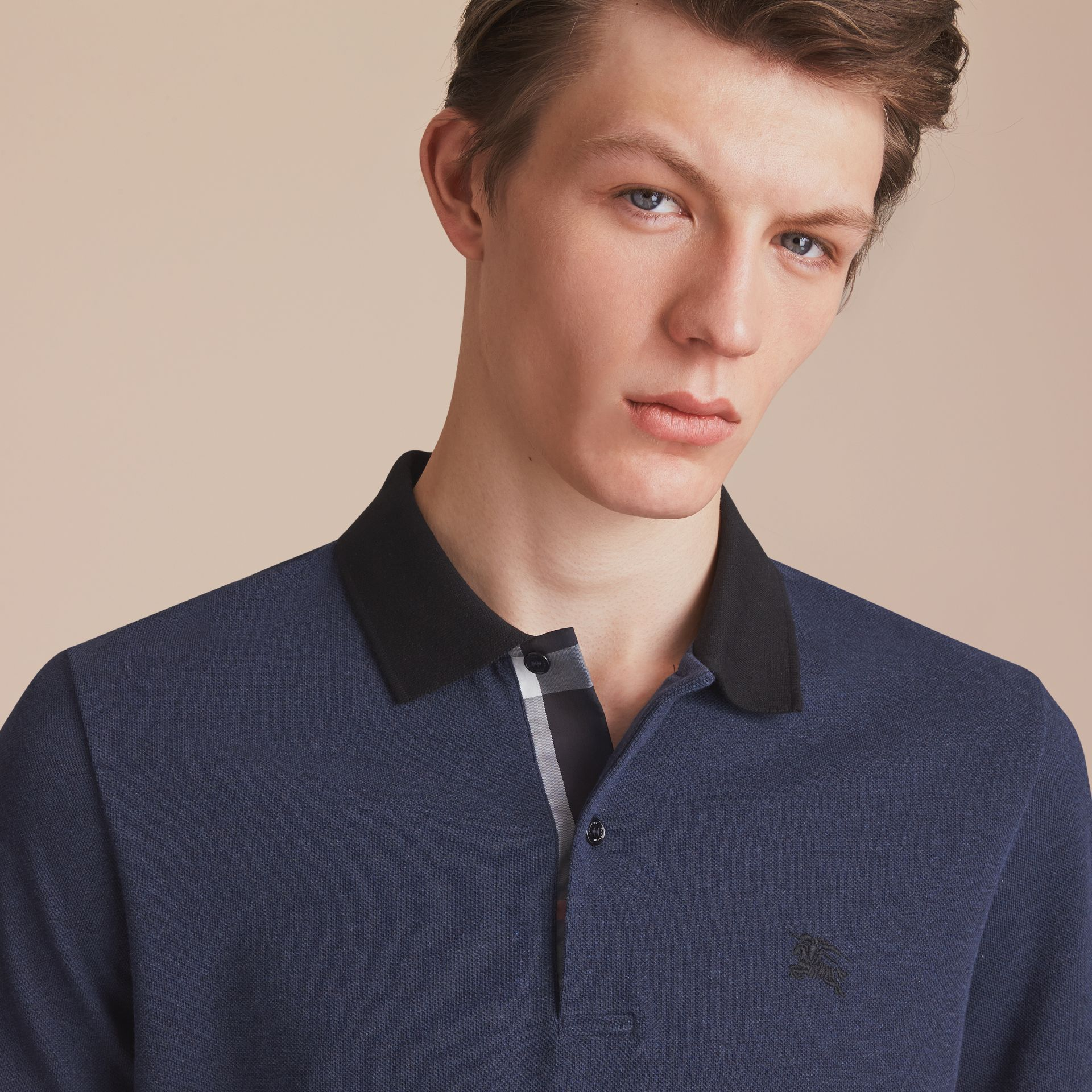 Two-tone Check Placket Cotton Piqué Polo Shirt in Navy Melange - Men | Burberry - gallery image 5