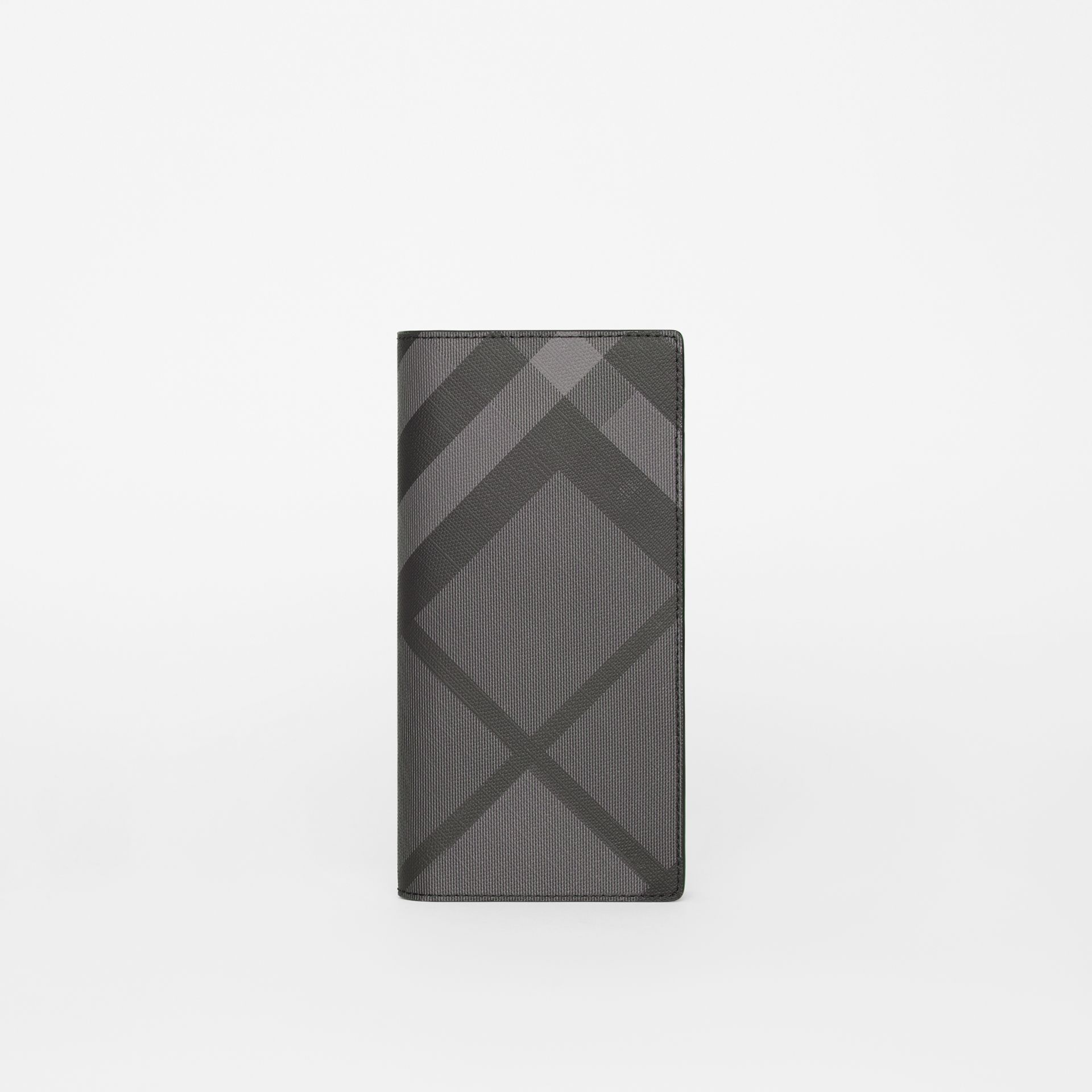 London Check and Leather Continental Wallet in Charcoal/black - Men | Burberry Hong Kong - gallery image 2