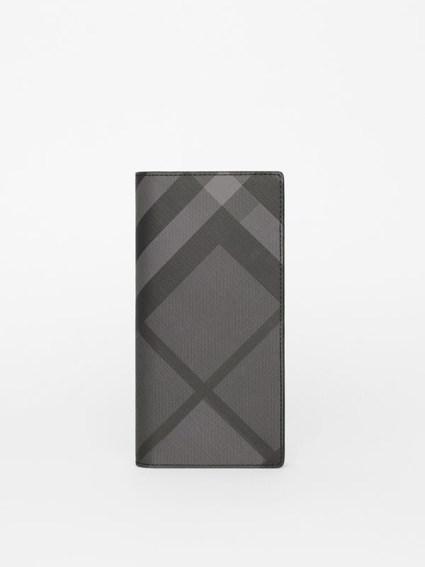 London Check and Leather Continental Wallet in Charcoal/black - Men | Burberry Singapore - cell image 2