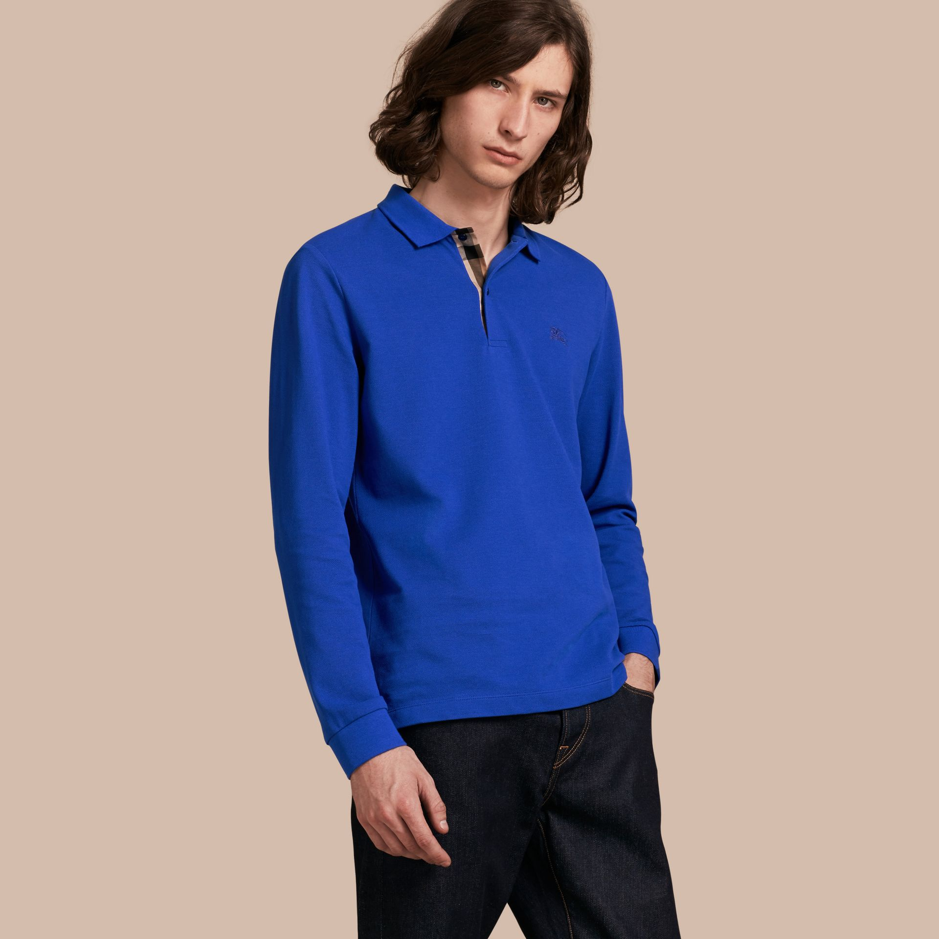 Check Placket Long Sleeve Polo Shirt Brilliant Blue - gallery image 1