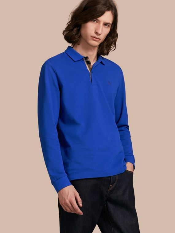 Check Placket Long Sleeve Polo Shirt Brilliant Blue