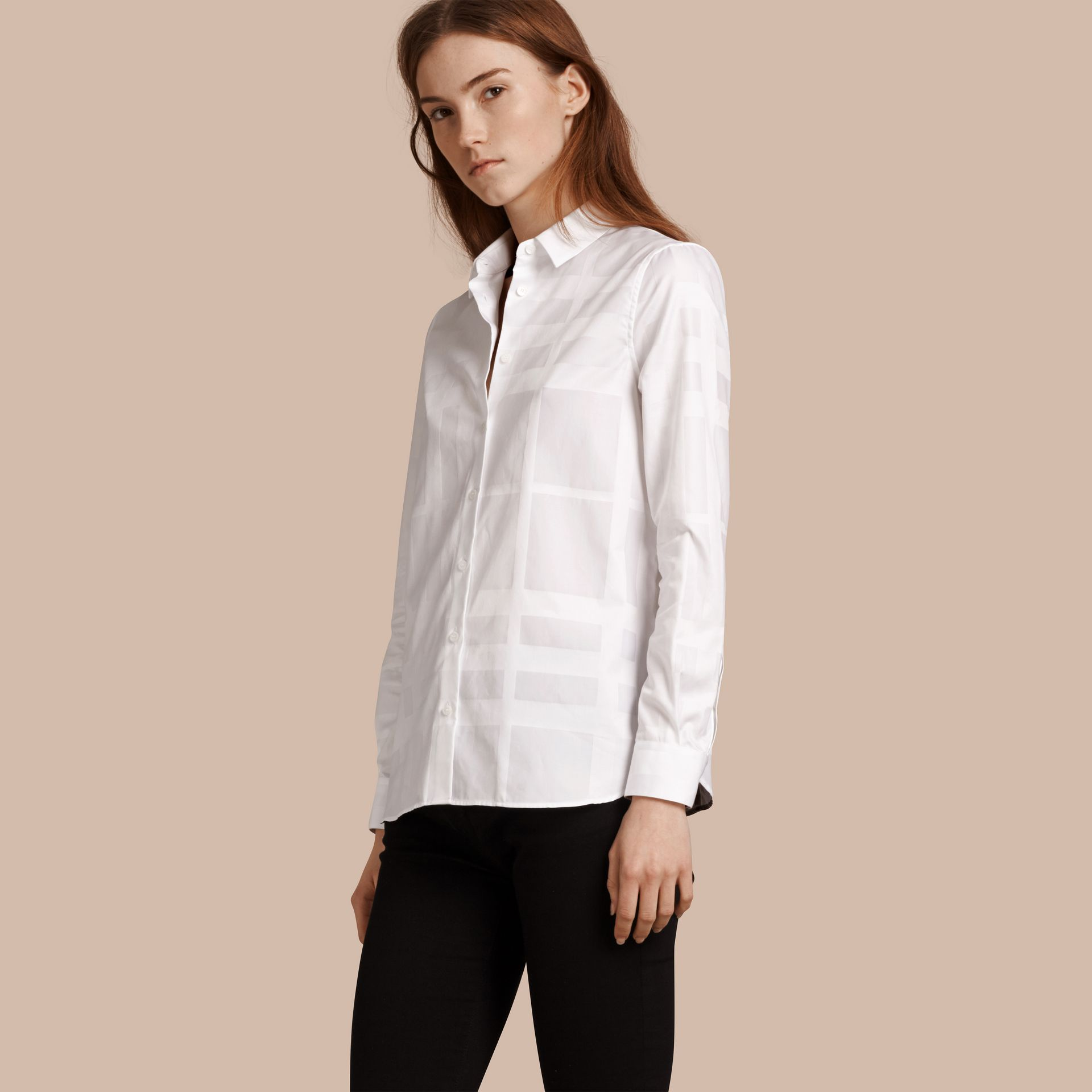 White Check Jacquard Cotton Shirt White - gallery image 1