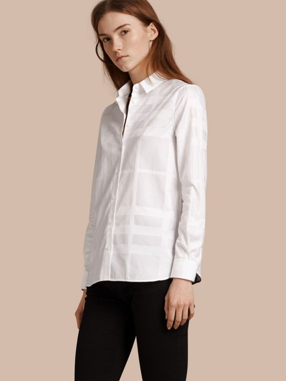 Check Jacquard Cotton Shirt in White