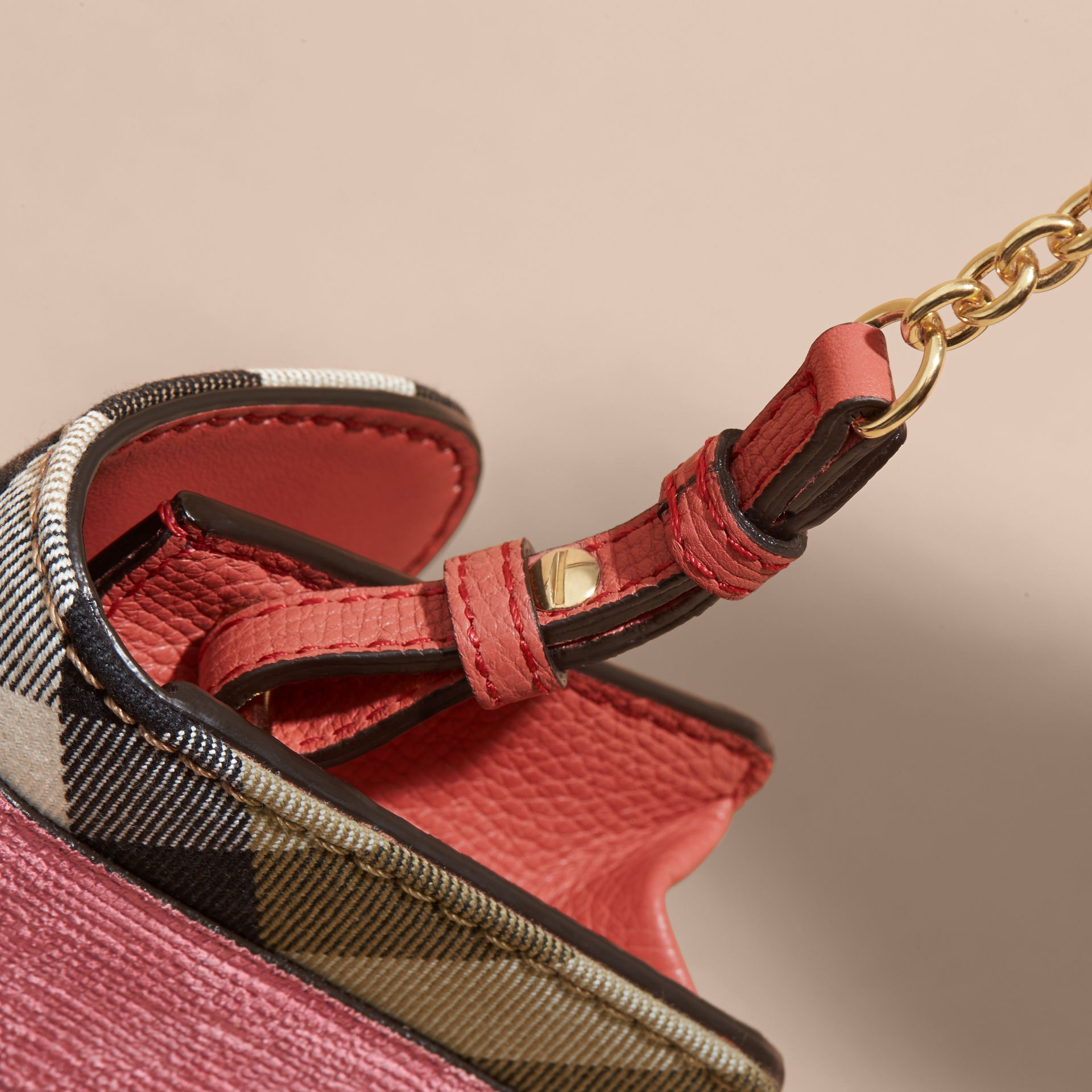 The Mini Buckle Bag in Leather and House Check Rose Pink - gallery image 2