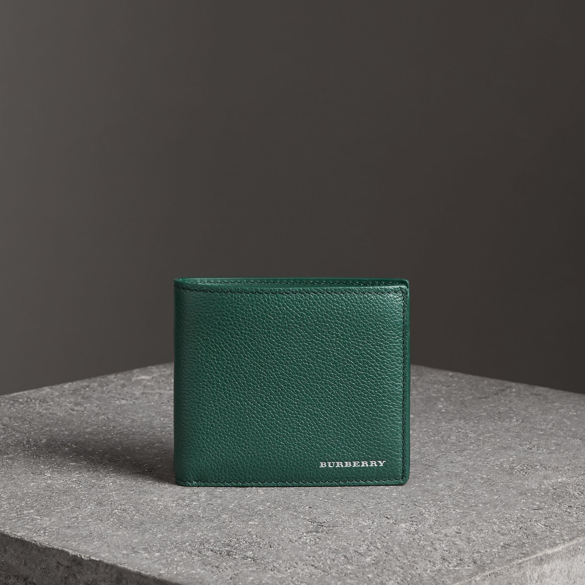 Grainy Leather International Bifold Wallet in Dark Cyan - Men | Burberry - gallery image 0