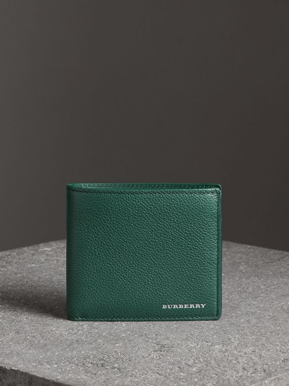 Grainy Leather International Bifold Wallet in Dark Cyan