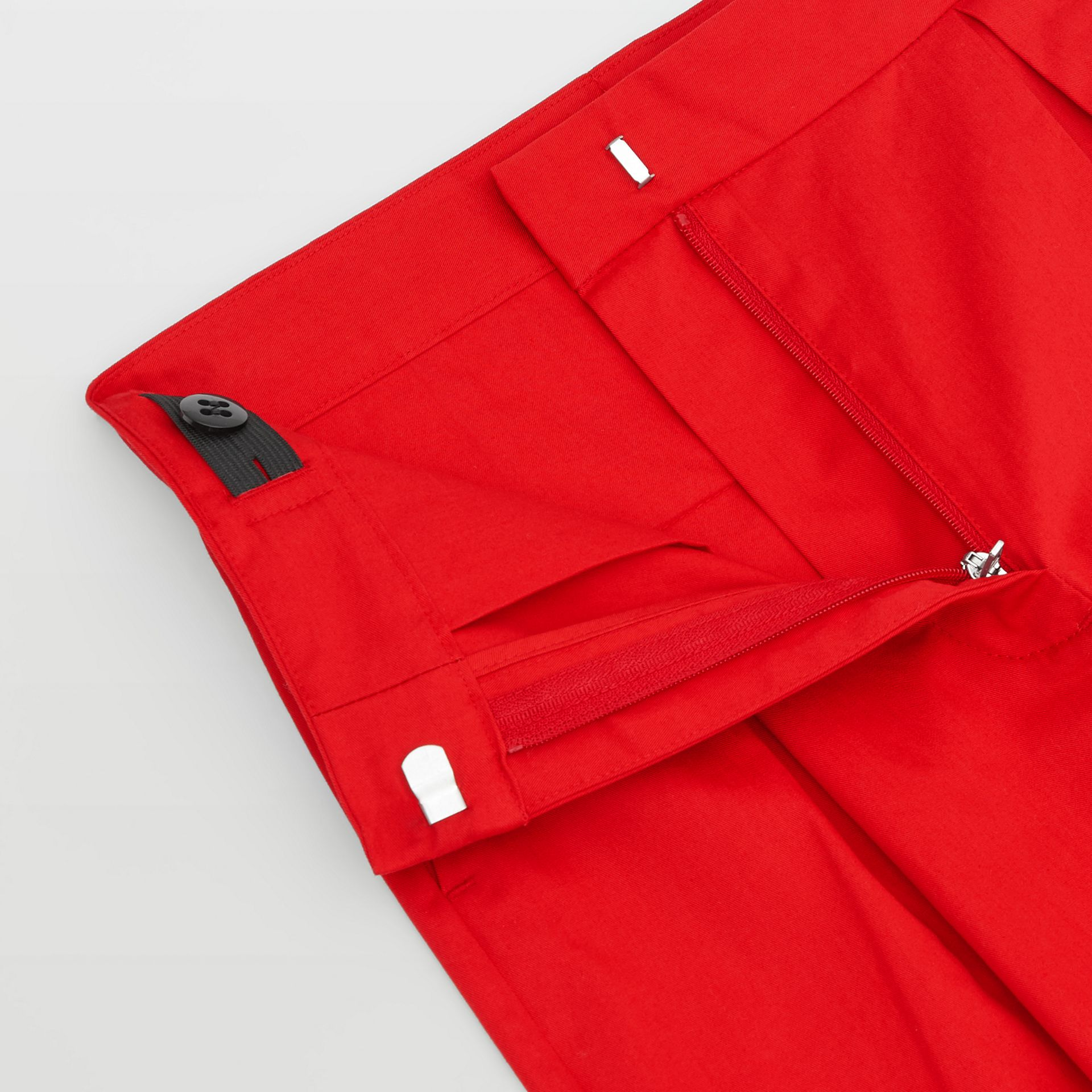 Cotton Twill Tapered Trousers in Bright Red | Burberry - gallery image 1