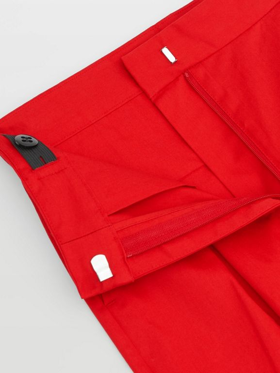 Cotton Twill Tapered Trousers in Bright Red | Burberry - cell image 1