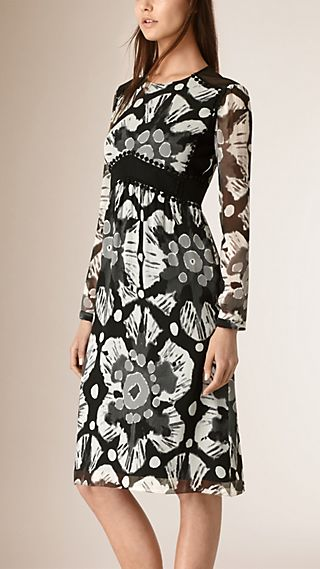 Tie-dye Print Crepe de Chine and Lace Dress