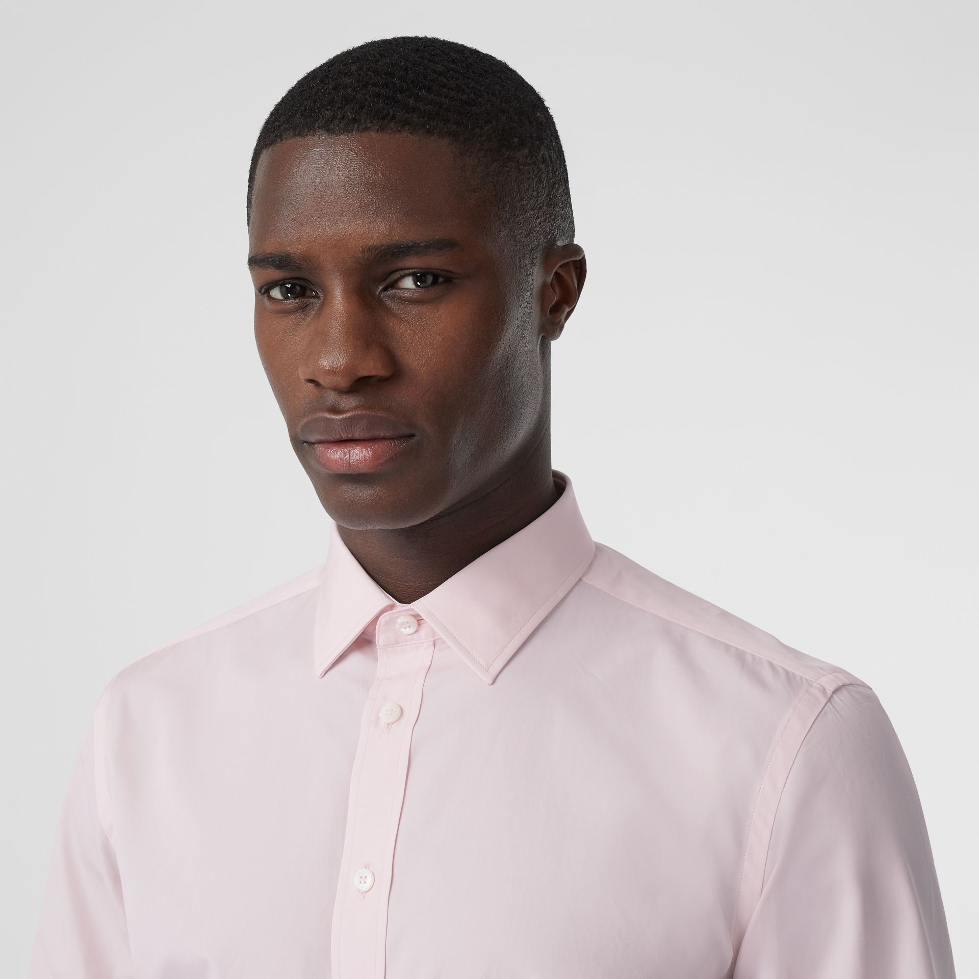 Slim Fit Monogram Motif Cotton Poplin Shirt in Alabaster Pink - Men | Burberry - gallery image 1