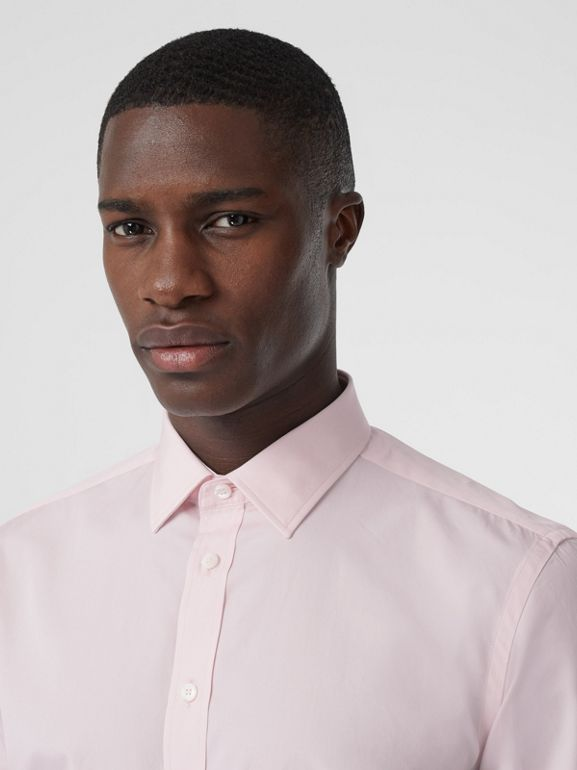 Slim Fit Monogram Motif Cotton Poplin Shirt in Alabaster Pink - Men | Burberry - cell image 1