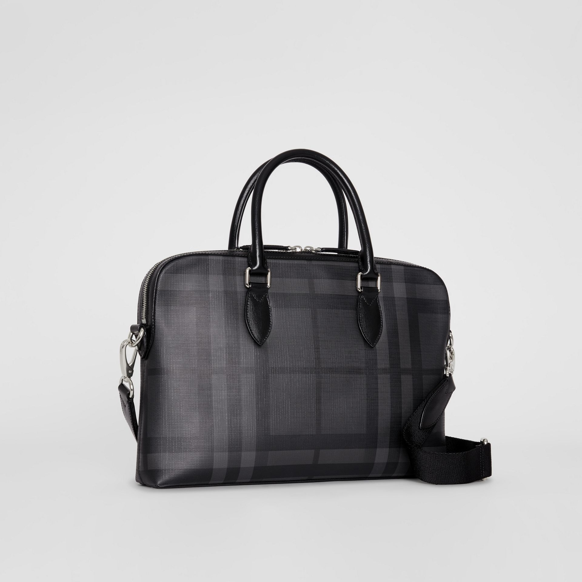 Medium Leather Trim London Check Briefcase in Charcoal/black - Men | Burberry Australia - gallery image 6