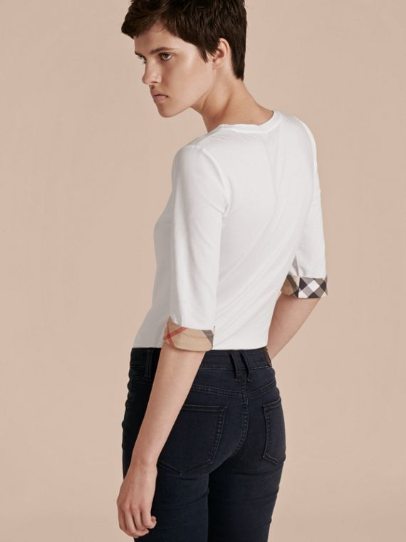 Check Cuff Stretch-Cotton Top in White - cell image 2