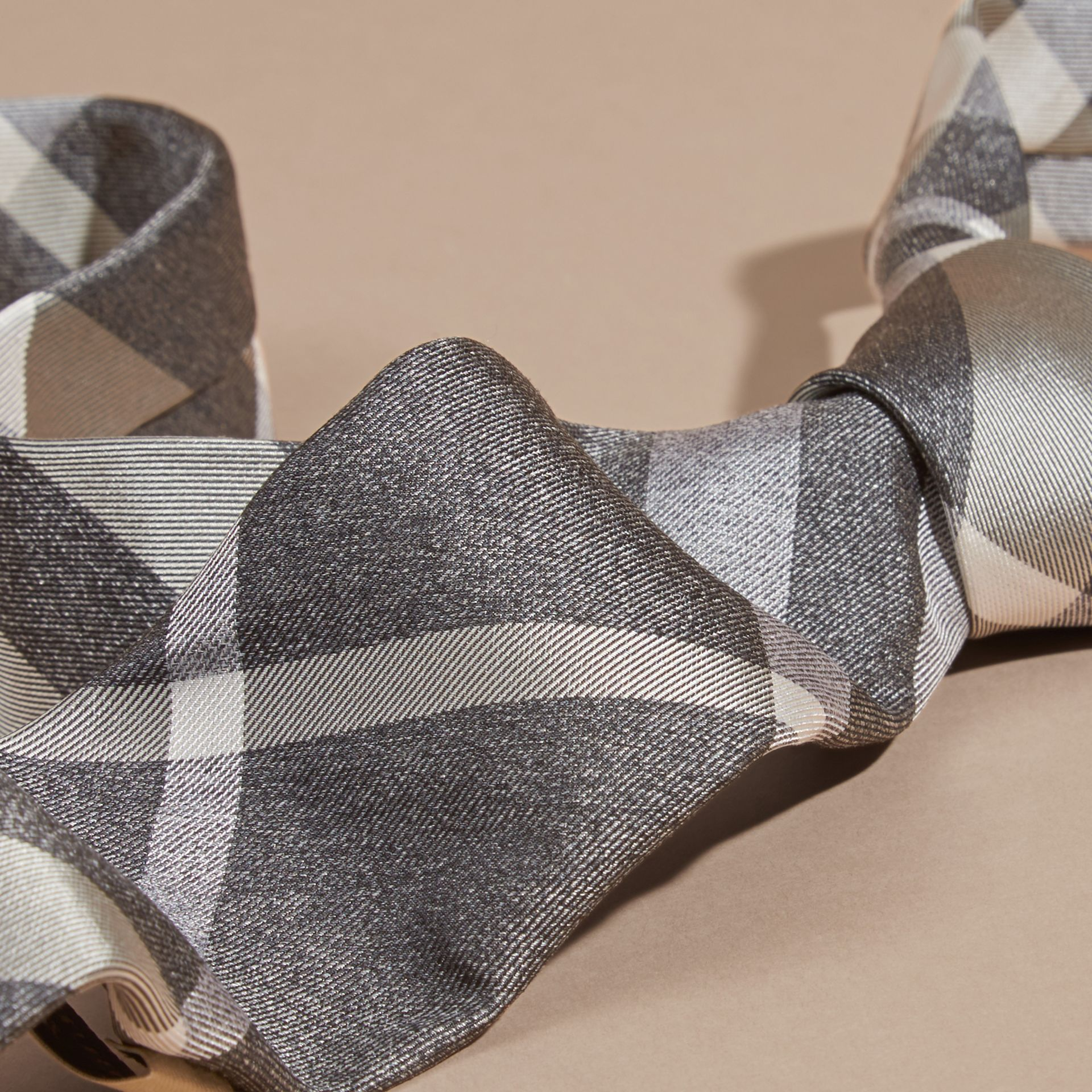 Light grey melange Modern Cut Check Jacquard Silk Tie Light Grey Melange - gallery image 2
