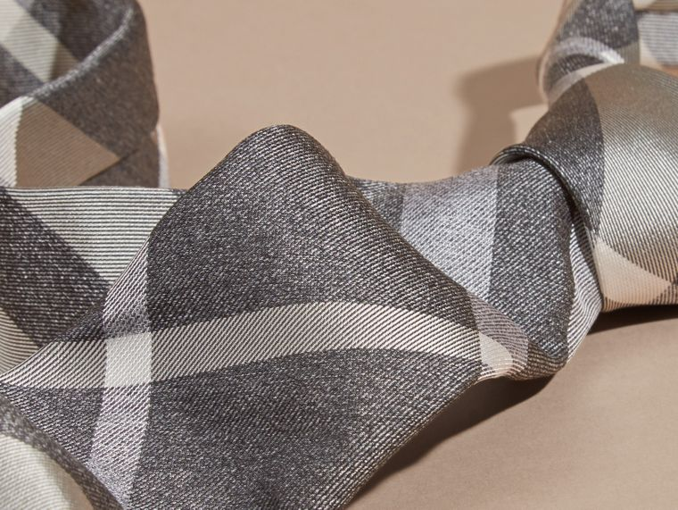 Light grey melange Modern Cut Check Jacquard Silk Tie Light Grey Melange - cell image 1