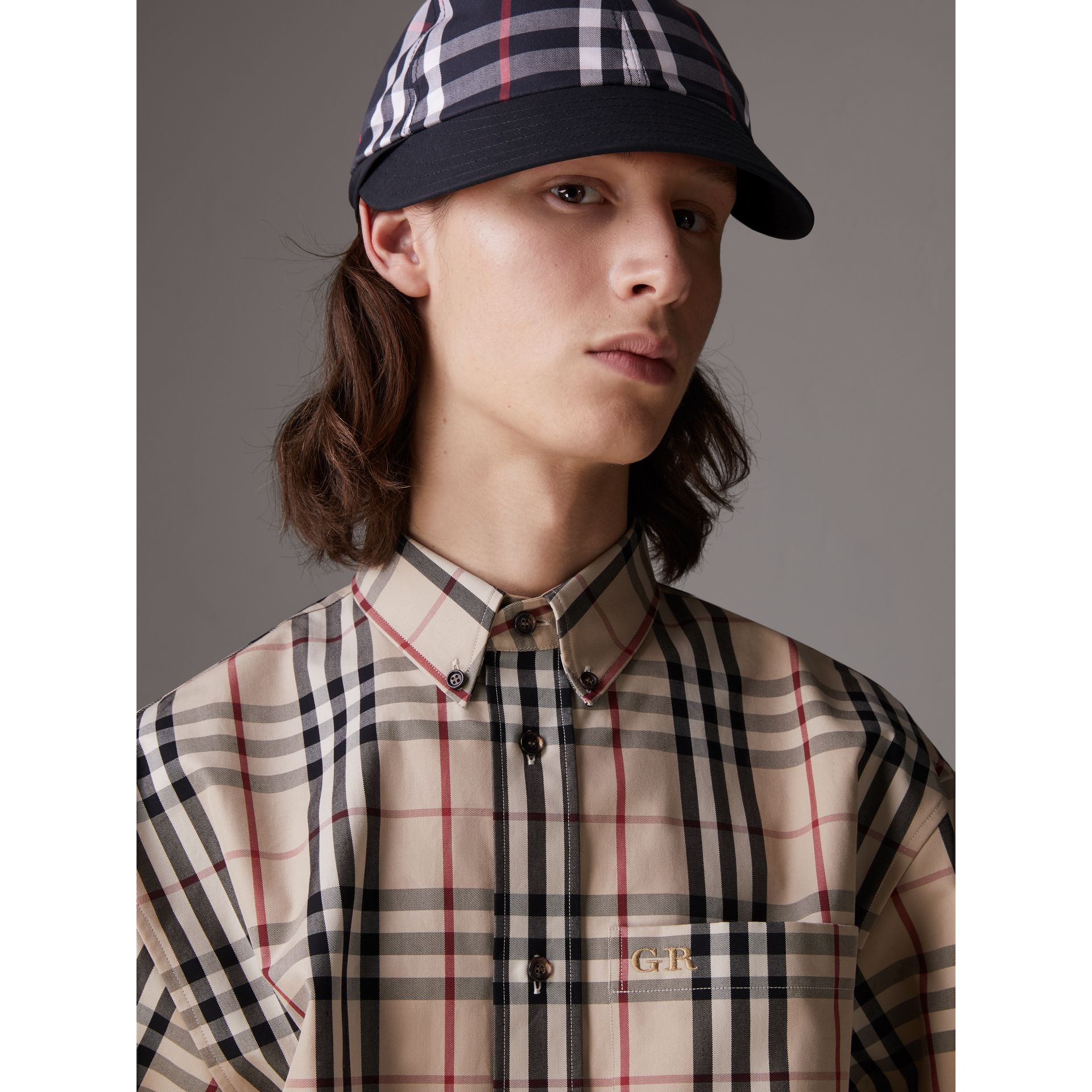 Gosha x Burberry Baseball Cap in Navy | Burberry Australia - gallery image 4