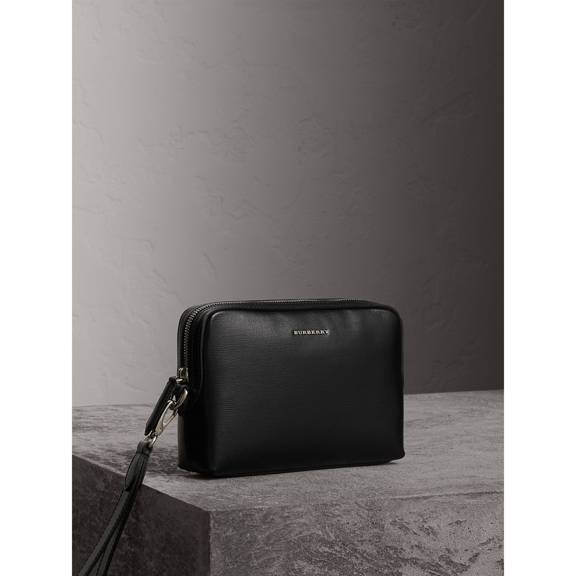 London Leather Pouch in Black - Men | Burberry - gallery image 5
