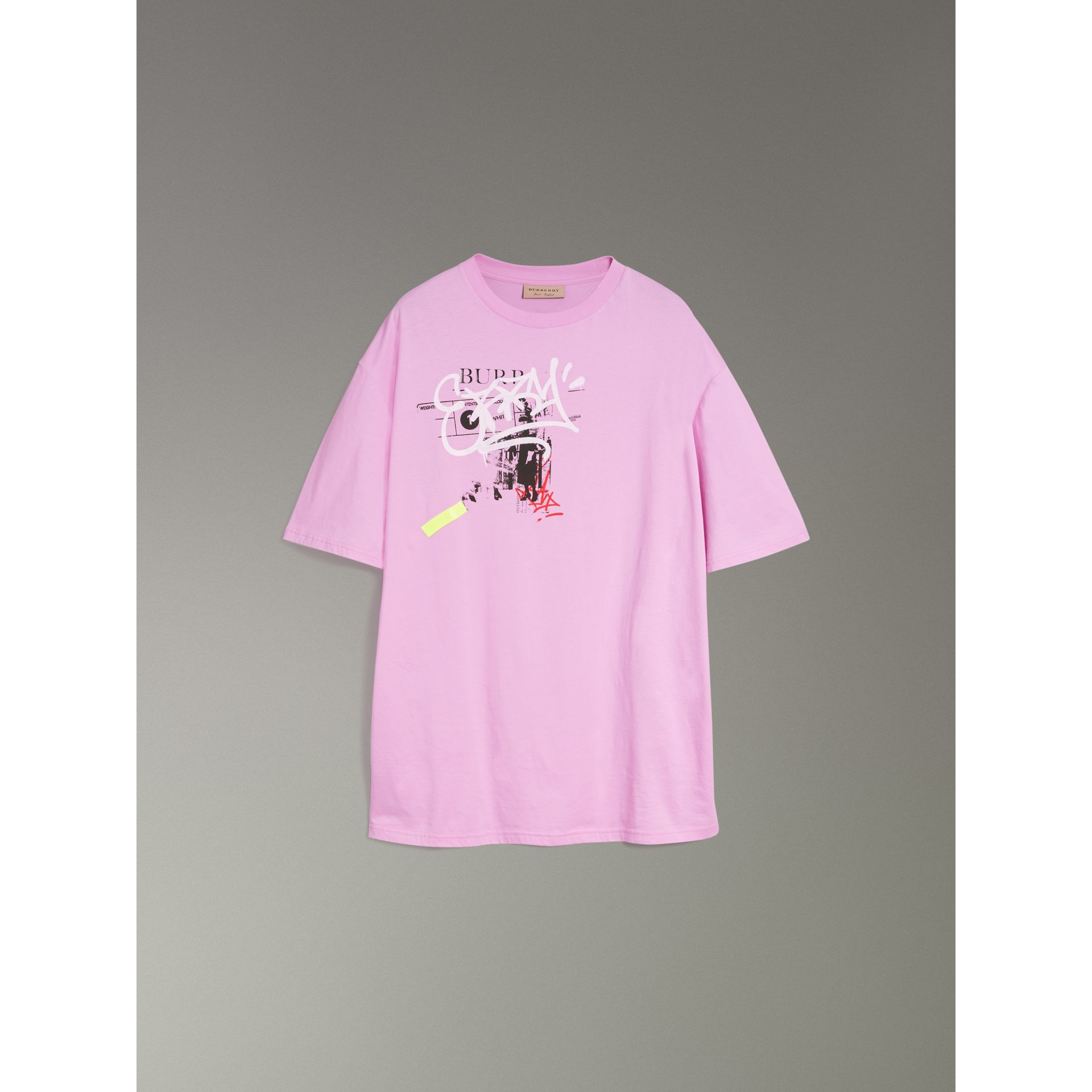 Graffitied Ticket Print Cotton T-shirt in Light Pink - Men | Burberry - gallery image 3