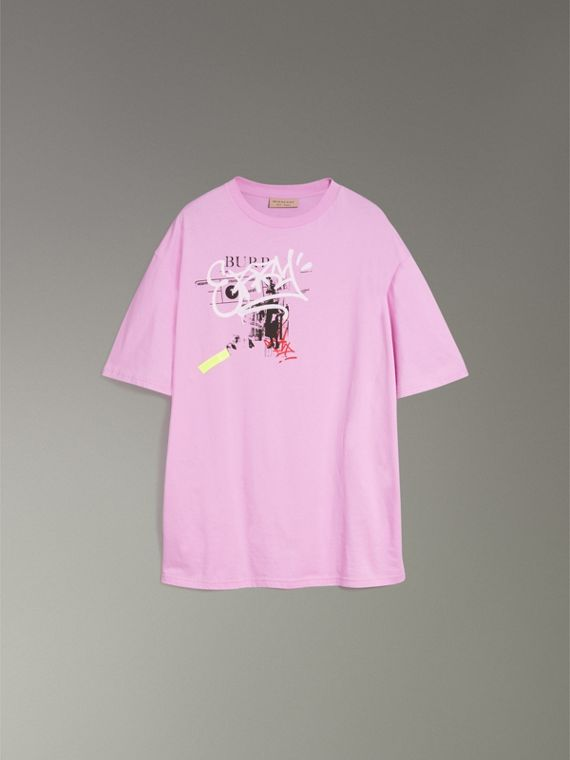 Graffitied Ticket Print Cotton T-shirt in Light Pink - Men | Burberry - cell image 3