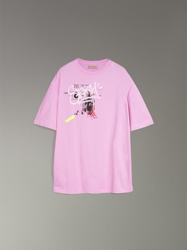 T-shirt en coton avec imprimé étiquette en graffiti (Rose Clair) - Homme | Burberry Canada - cell image 3