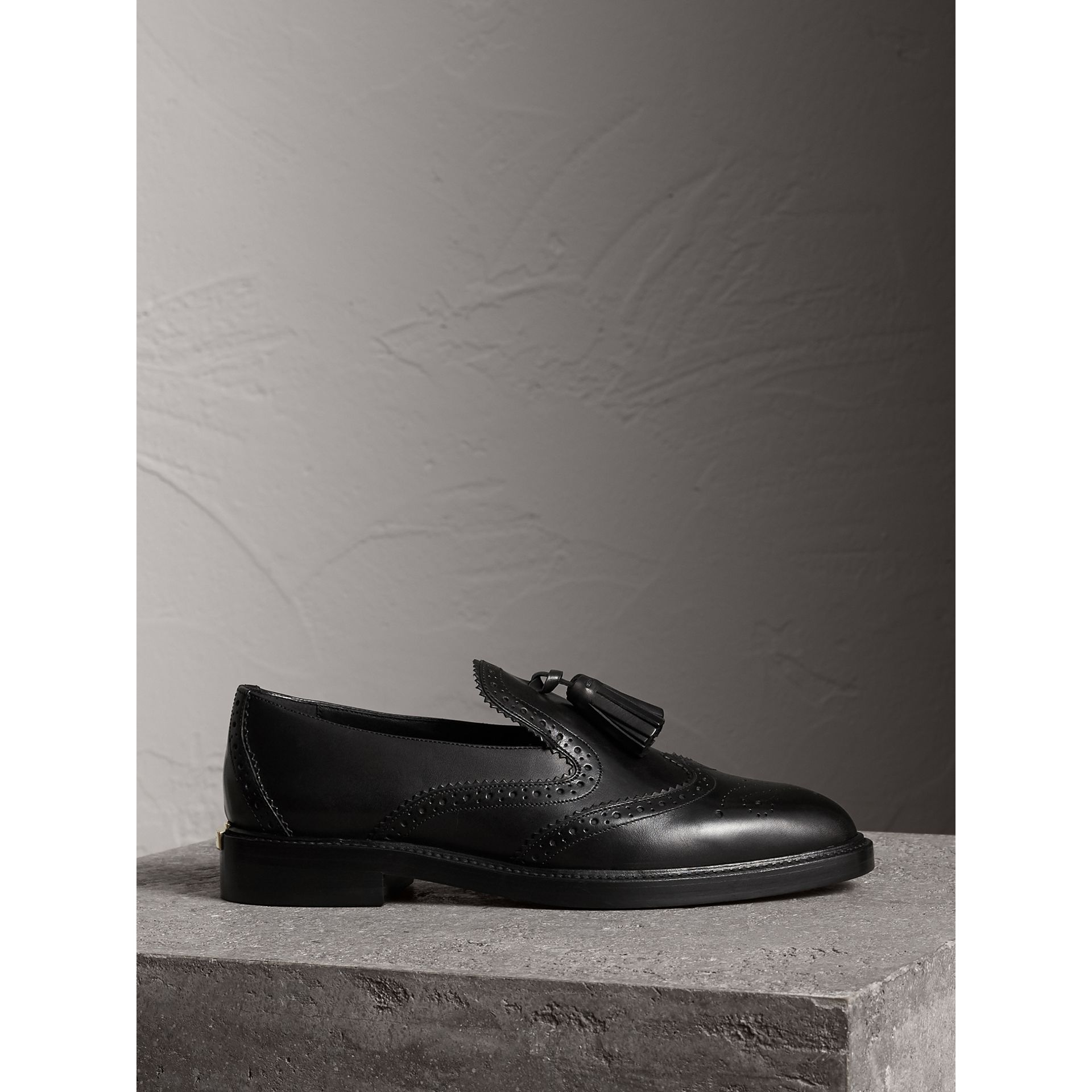 Leather Tassel Loafers in Black - Women | Burberry - gallery image 5