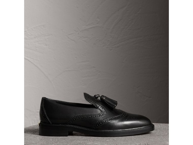 Leather Tassel Loafers in Black - Women | Burberry - cell image 4