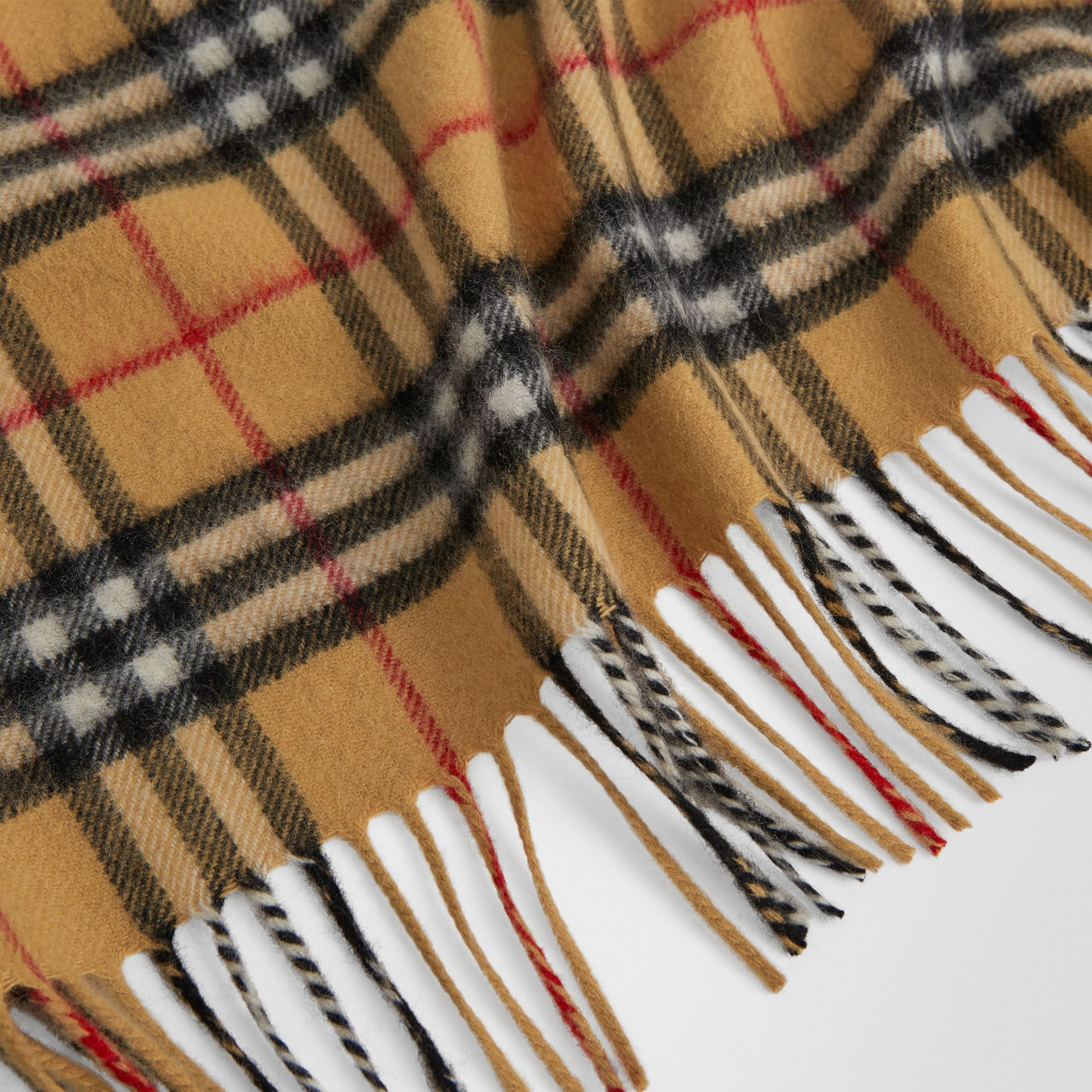 The Mini Burberry Bandana in Vintage Check Cashmere in Antique Yellow | Burberry Canada - gallery image 1