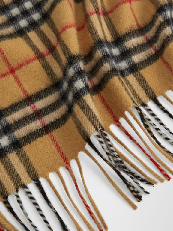 The Mini Burberry Bandana in Vintage Check Cashmere in Antique Yellow | Burberry United Kingdom - cell image 1